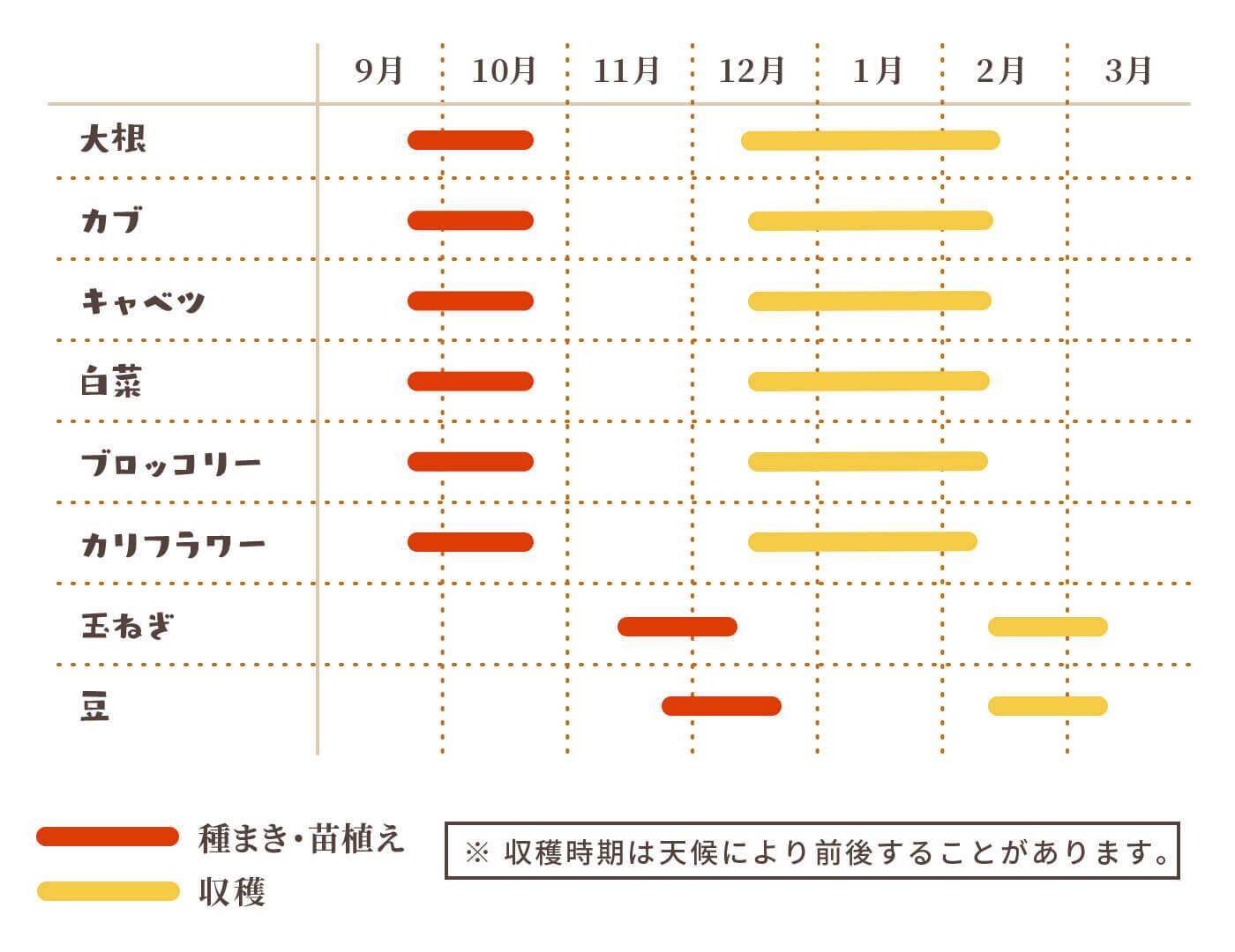 農作カレンダー(秋冬シーズン)